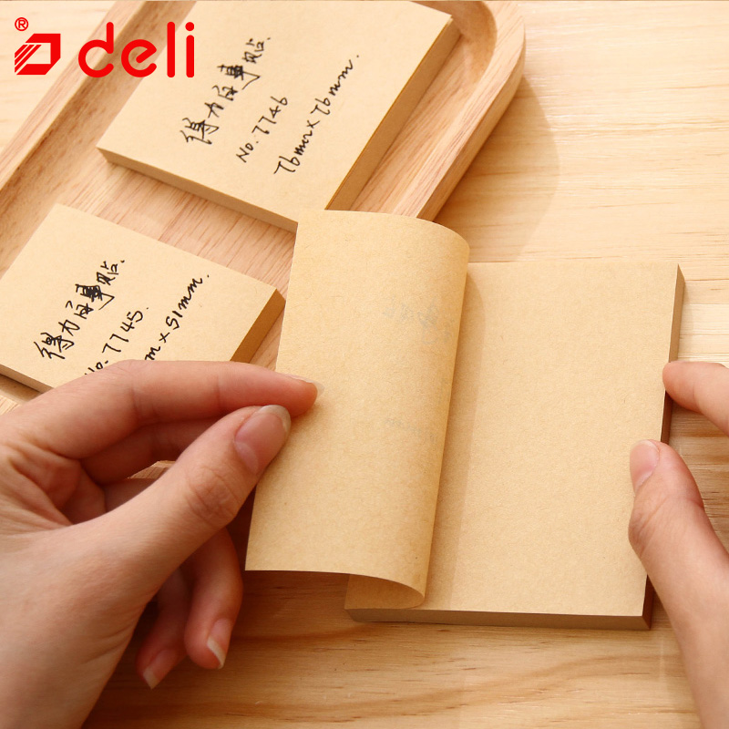 Deli 100 Sheets sticky note Memo Paper self adhesive paper post memo pad Stationery Office accessories School supplies 7745-47