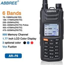 ABBREE AR F6 6 العصابات عرض مزدوج الاستعداد 999CH متعددة الوظائف VOX DTMF SOS LCD اللون عرض اسلكية تخاطب هام راديو