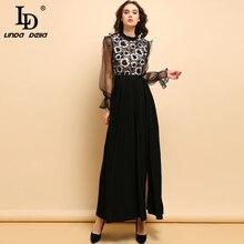 LD LINDA DELLA Autumn Fashion Runway Maxi Long Dress Women's Mesh Long Sleeve Floral Embroidery Vintage Side Slit Party Dresses цена и фото