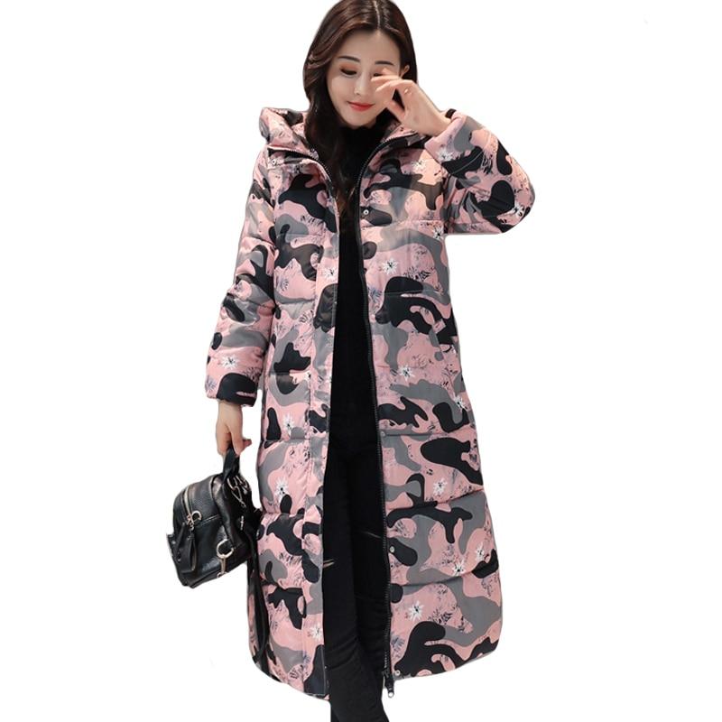Hooded long printing casaco feminino inverno 2019 warm thicken cotton padded winter jacket women female coat parka women's