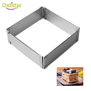 Image 3 - Delidge 2 sztuk/zestaw ze stali nierdzewnej regulowane ciasto z musem pierścień 3D okrągła i kwadratowa forma do ciasta ciasto foremki na ciastka