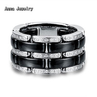 Luxury Alluring Designer Ceramic Ring Stainless Steel Metal with White Black Ceramic and Dazzling Clear Zirconia Stones Ring