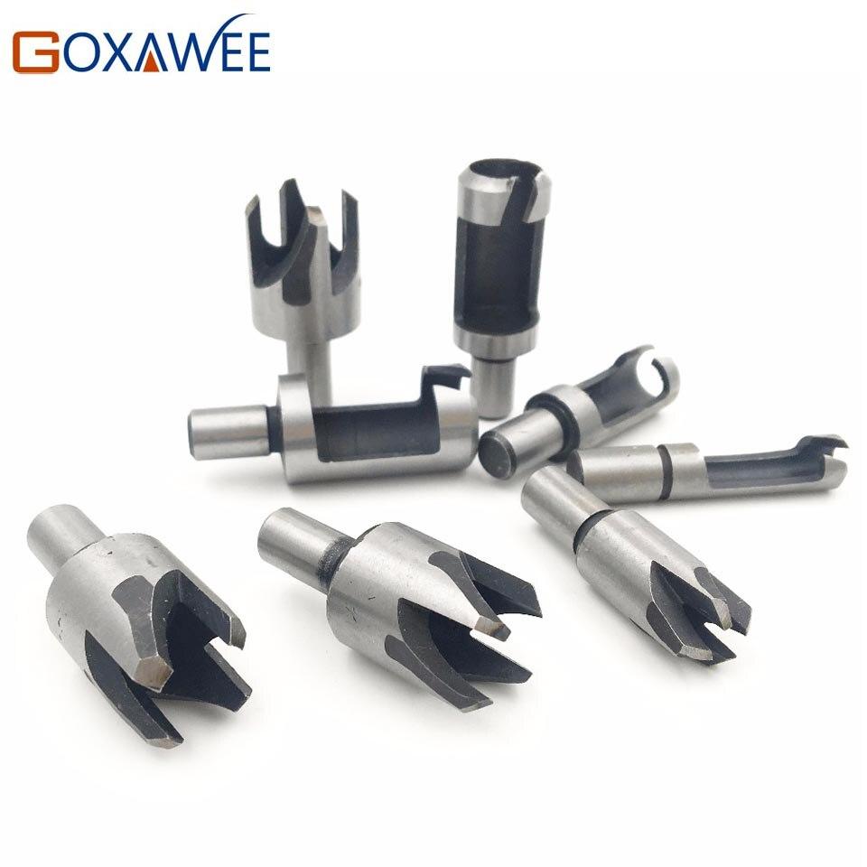 GOXAWEE 4pcs Claw Type Drill Wood Plug Hole Cutter Drill High Carbon Still Woodwork Plug Cutting Cutter Drill Bits Set