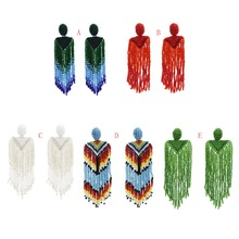 Bohemian Resin Beaded Tassel Long Statement Fringe Earrings  Jewelry Hipster Big Drop For Women WeddingBijoux
