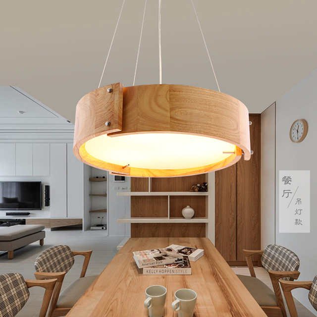 new nordic solid wood pendant light for home lighting modern hanging lamp wooden lampshade. Black Bedroom Furniture Sets. Home Design Ideas