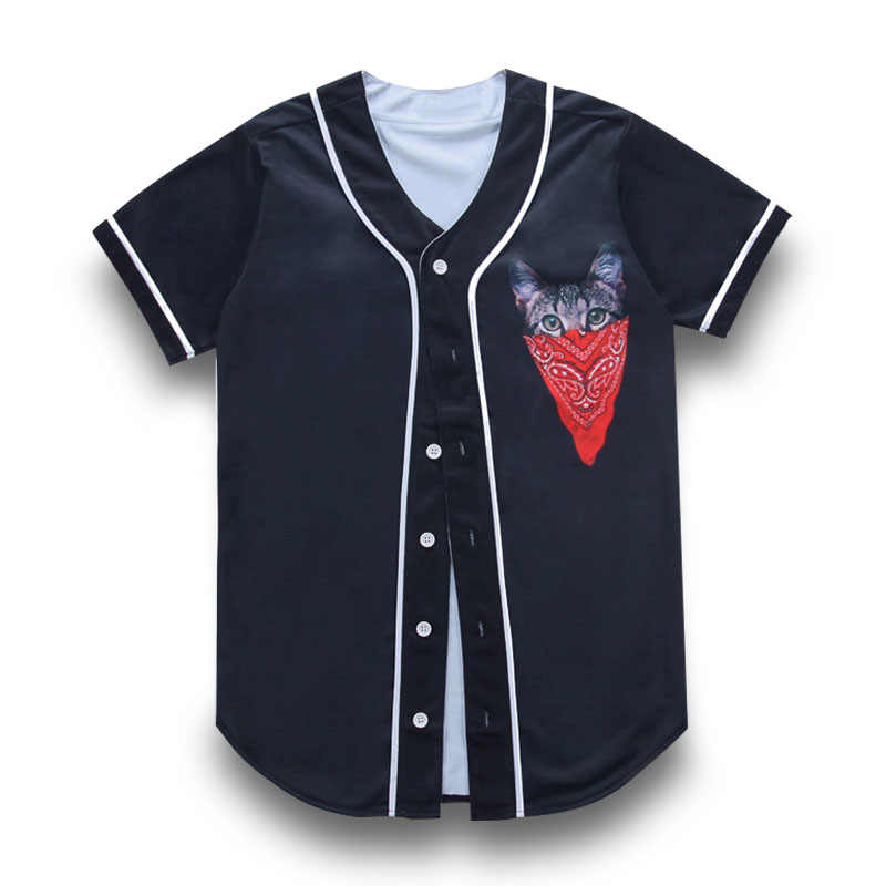 f6a5aac05139ff New Baseball Jersey Cardigan TShirt Red Scarf Pocket Cat 3D Print Jacket  Short Sleeve Men T