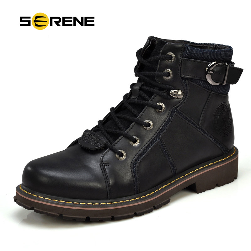 SERENE 2018 New Arrival Men Casual Shoes Boots British Martin Genuine Leather Boots Flat Tooling Boots Warm Fur In Winter 3167 2017 new british style genuine leather men boots super warm men ankle boots martin casual winter boots winter men shoes