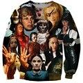 Harajuku assassinatos de Cinema estilo Crewneck camisola Horror filme Kill Bill / Carrie / Zombie 3D Hoodies Pullovers das mulheres / homens casacos