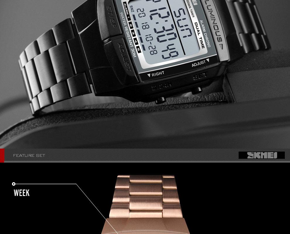SKMEI Sports Watch Men Digital Watch Alarm Clock Countdown Watch Large Dial Glass Mirror Clock Fashion Outdoor Relogio Masculino 15