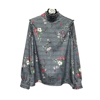 Vintage Printed Floral Plaid Shirts Ruffled Collar Houndstooth Long Sleeve Blouses Retro Ladies Spring Autumn Casual