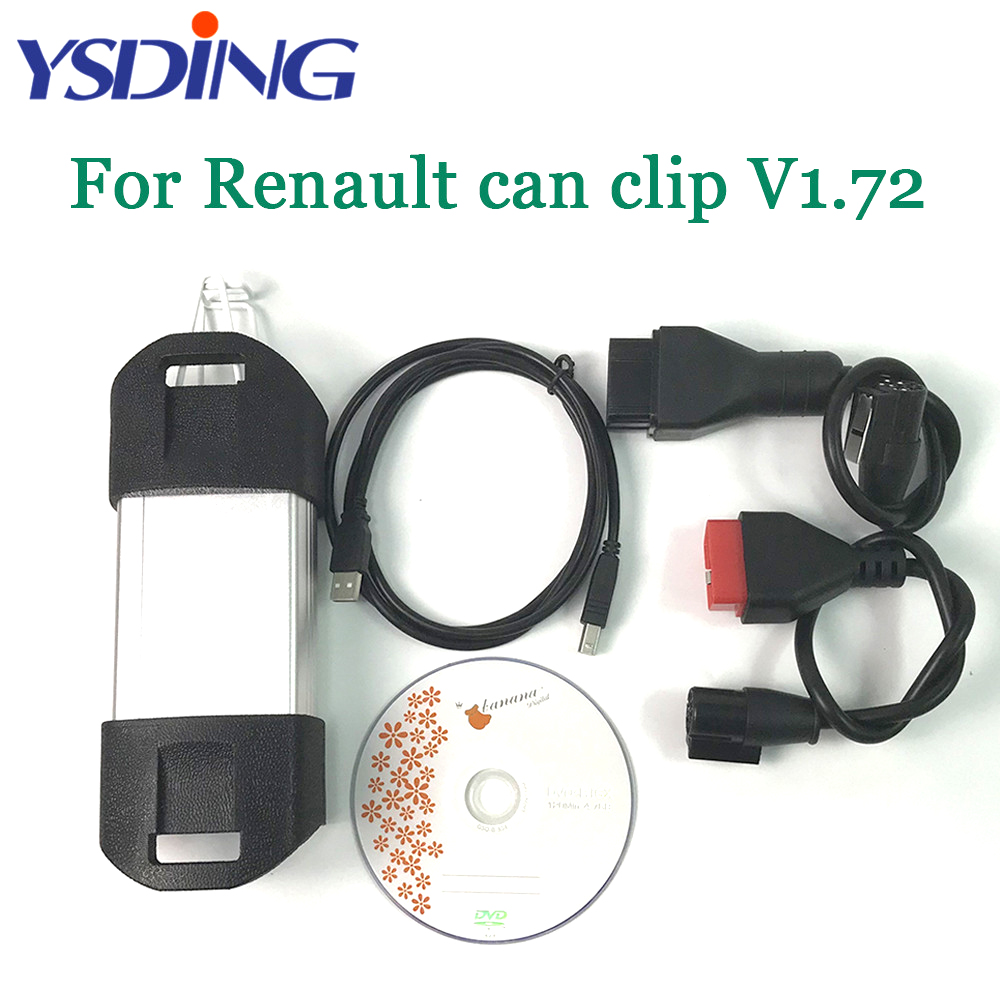 Top Quality Full Chip For Renault Can Clip V172 Auto OBD2 code reader scanner CAN Clip Diagnostic Tool obdii For Renault for renault can clip v178 full chip cypress an2131qc reprog v151 obdii diagnostic interface can clip car diagnostic tool scanner