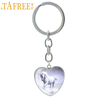 TAFREE trendy key chain heart pendant keychain vintage gothic pentium horse felicity cock chicken keyring jewelry HP698 image