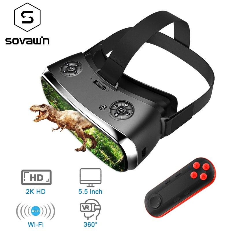 Sovawin 2 K HD Wifi Tutto In Un Auricolare VR Hdmi 3D Smart Occhiali di Realtà Virtuale Coinvolgente Goggle Cartone VR Casco 5.5 'Display
