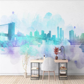 Custom wallpaper mural new Chinese style ink city abstract hand-painted city silhouette background wall - high-grade wall cloth fashion city photo wallpaper brooklyn bridge new york designer wall mural black