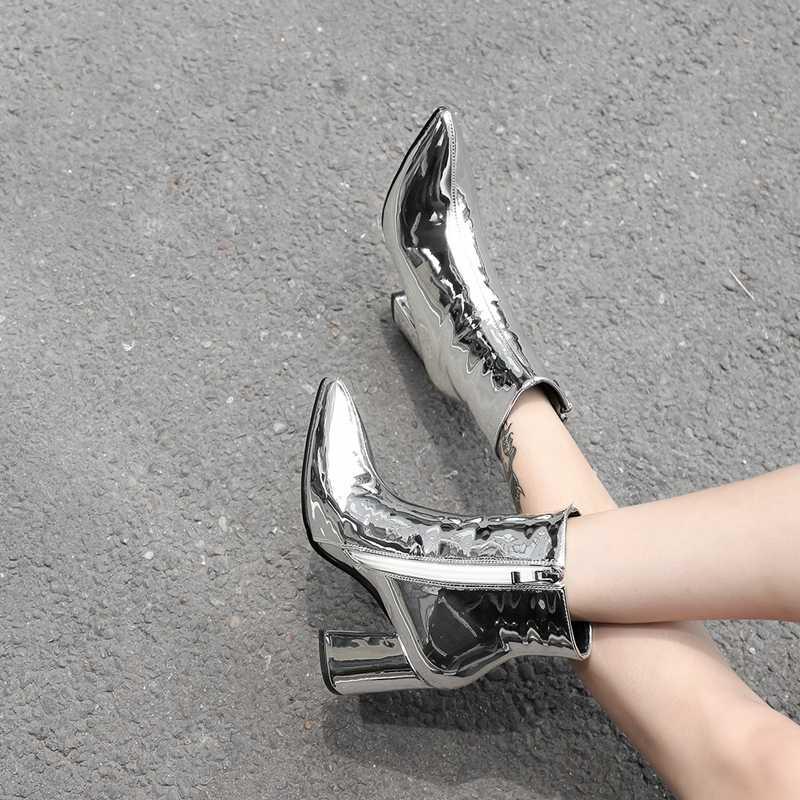 Klasik Gümüş Siyah Fermuar yarım çizmeler için Kadın Blok Yüksek Topuk Çizmeler Bayanlar Kış kar ayakkabıları Kadın Altın botas invierno mujer