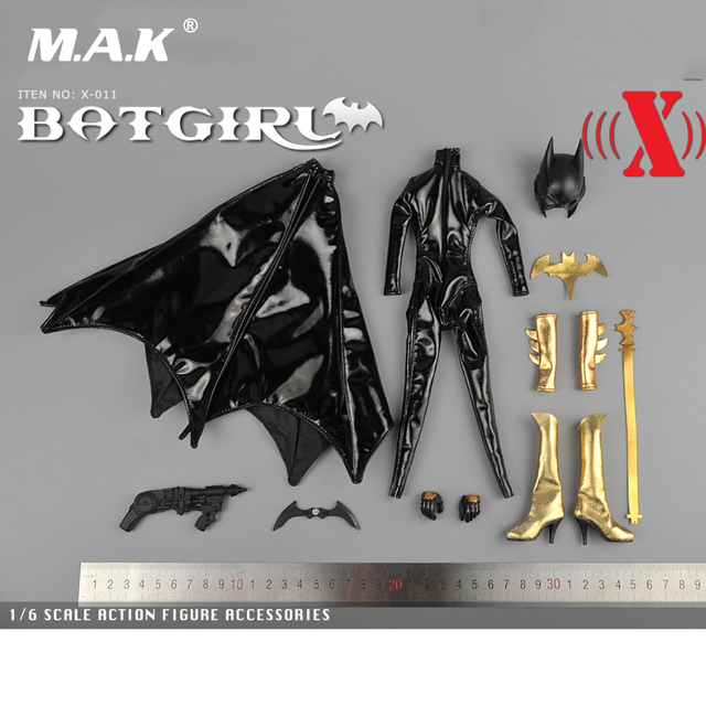 1/6 Scale BatGirl Black Leather Jumpsuit Mask Version X011 For 12 Inches Female Action Figures Bodies Accessories