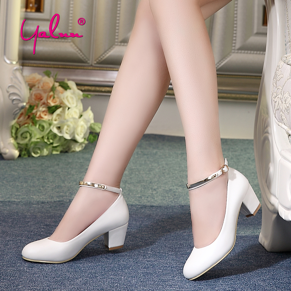 Office Lady Mary Jane Shoes for Women White Thick Heel Pumps Black Buckle Strap Square High Heels Party Shoes Woman Larger Size egonery buckle strap faux leather thick high heels fashion style ladies party shoes women s shoe plus size woman pumps