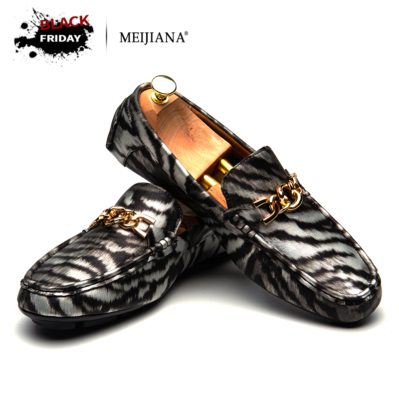 MEIJIANA Brand Leather Driving Shoes Fashion Boat Shoes Men Flats 2018 New Men Casual Shoes Zebra Pattern Men's Slip on new fashion gold snakeskin pattern loafers men handmade slip on leather shoes big sizes men s party and prom shoes casual flats