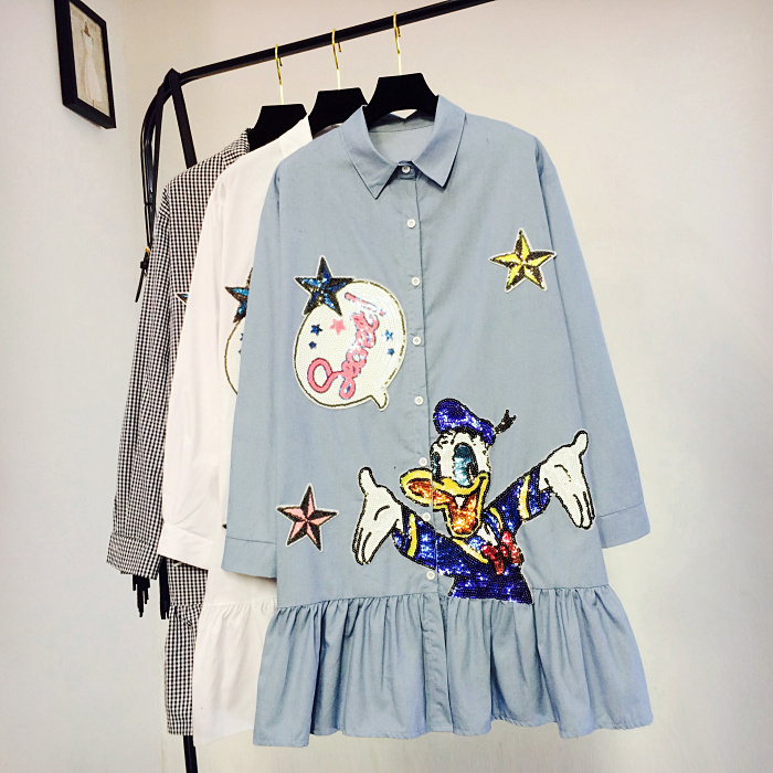 2018 Spring New College Wind Women's Lotus Leaf Edge Cartoon Sequin Patched Shirt Dress Casual Long Sleeve Loose Vestidos