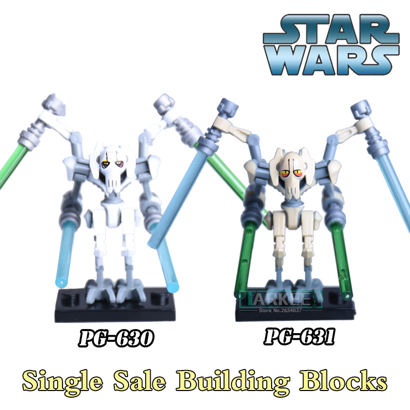1PC Star Wars Building Blocks Diy Figures Silver Gold General Grievous With Lightsaber Bricks Best Children Christmas Gift Toys