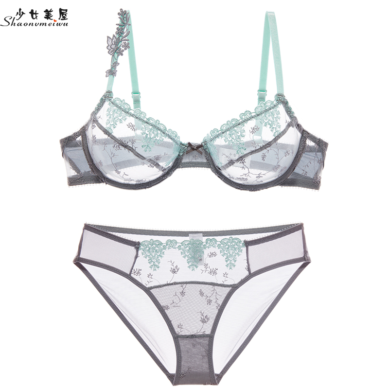 shaonvmeiwu Sexy bud embroidery ultra thin net gauze transparent   bra     set     bra     set     bra   size