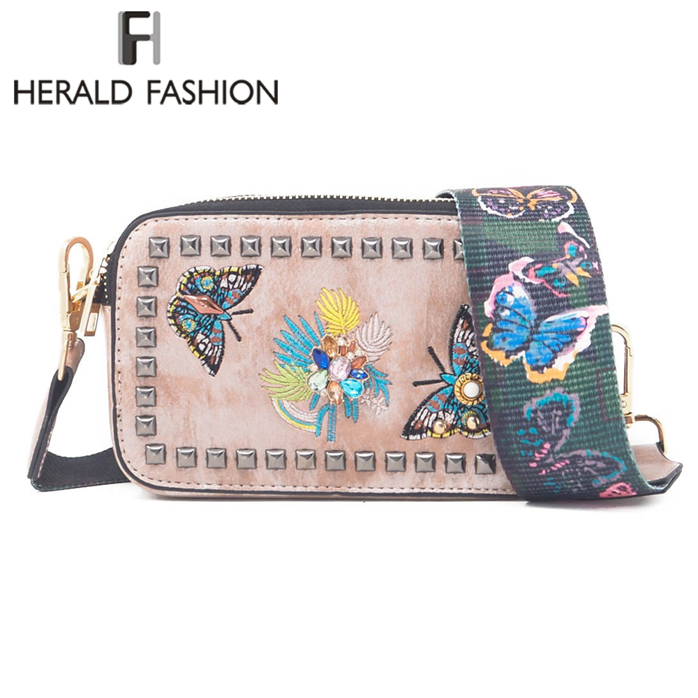 Herald Fashion Embroidery Butterfly Women Messenger Bags Quality Leather Female Shoulder Bags With Rivets Lady's Crossbody Bag herald fashion mini velvet embroidery crane shell bag wild strap fashion shoulder bags designer tassel vintage crossbody bag