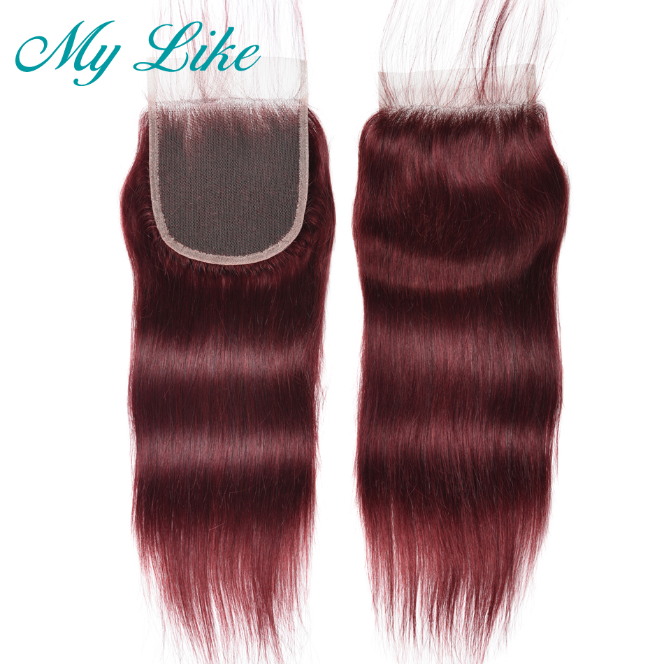 My Like Brazilian Straight Hair Closure 99j Red Burgundy Non-remy Human Hair Top Lace Closure With Baby Hair 4x4 Bleached Knots