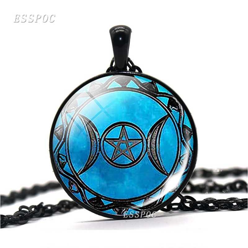 Potrójna bogini księżyca Steampunk Wiccan wisiorek ze szklanym kaboszonem czarny łańcuch naszyjnik kamień księżycowy czarownica biżuteria prezent dla mężczyzn kobiety