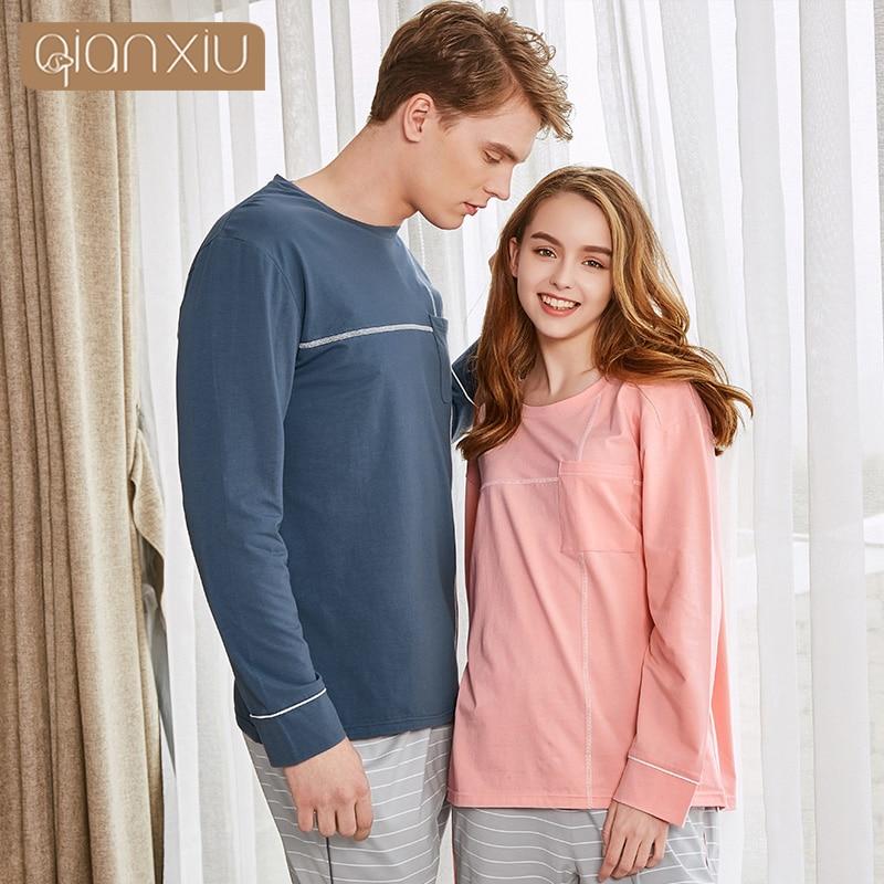 Qianxiu Couples Style Spring&autumn Style Men's Pajamas Plus Size Nightdress Cotton For Night 18129