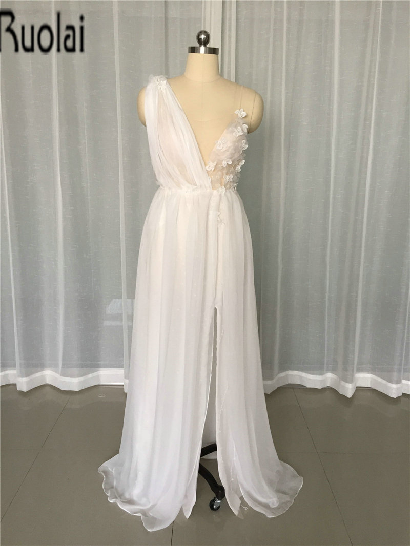 2017 New Arrival Sexy Chiffon Wedding Dresses Scoop Spaghetti Straps Beading Flowers Front Split Tulle Bride Gown Custom Made