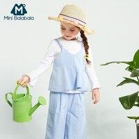 Mini Balabala Kids Girls 3 Piece Tops + Sleeveless Dress + Wide Leg Pants Set Children Toddler Girls Autumn Clothes Clothing