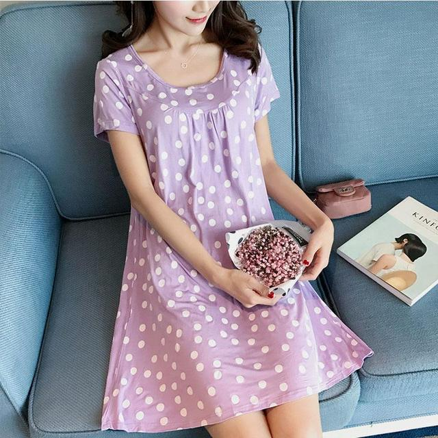 Sleep Dress Cotton Sleepwear With Bra Women Nightwear Cotton Babydoll Summer Pyama Woman Plus Size Nightdress Ladies