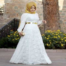 2016 Arabic festa white lace long evening dress Kaftan Dubai Prom plus size pin up dresses Muslim Abaya Islamic sleeve