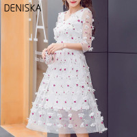 DENISKA 2018 New Spring Summer Women Embroidery Floral Dresses Girls Princess Sweet Style Chiffon Dress