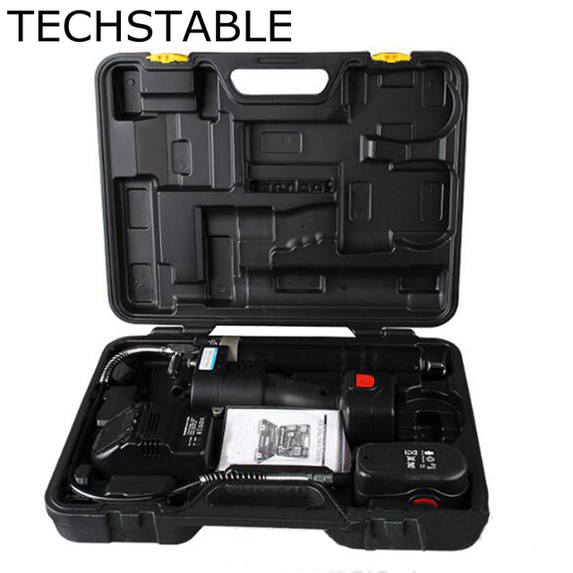 TECHSTABLE 18v electric cordless grease gun lubricant oil add tools rechargeable battery grease oil tool machine helper