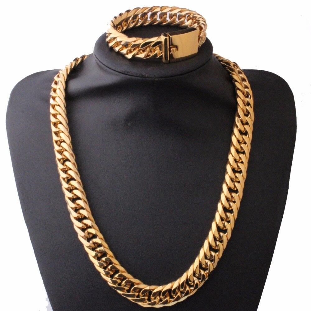 Ensemble de bijoux en argent/or pour hommes lourds collier et Bracelet en acier inoxydable 316L chaîne Double chaîne à maillons cubains cadeau