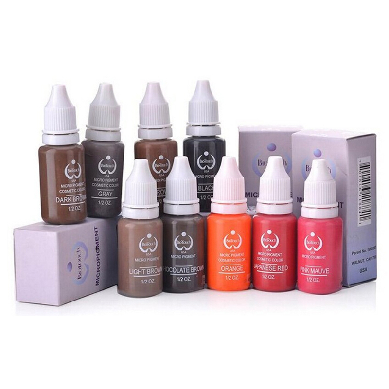 6Pcs/Pack Biotouch Eyebrow&eyeliner& lip Permanent Makeup Tattoo ink brand Micro pigment Lasting Long 15ml  cosmetics supply боди женское