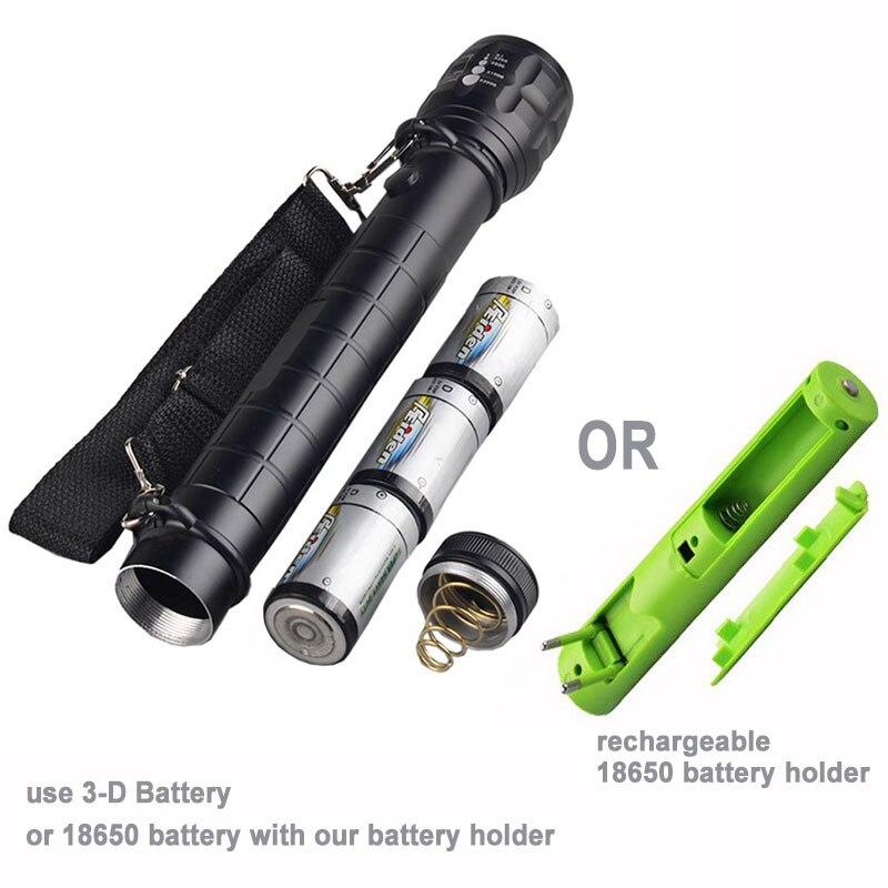 [Nave Libre] grande resistente linterna antorcha luz LED Q5 3xD batería o 1x18650 Metal aluminio zoom negro mate cuerpo sin brújula