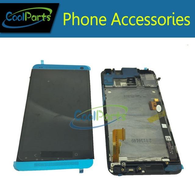 Cor preto/prata para htc one m7 801e lcd display + touch screen digitador com frame única versão sim frete grátis 1 pc/lote