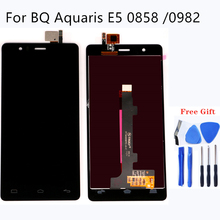 Para BQ Aquaris E5 0858 0982 Monitor LCD Kit De Montagem da Tela de Toque de Alta Qualidade Para BQ E5 0858 0982 Reparação peças + Frete Grátis