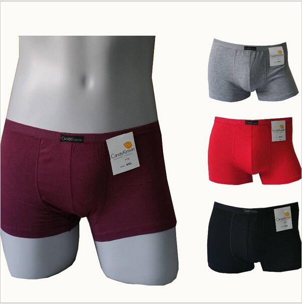 D7306 Free Shipping 2015 Hot Sale Solid Color L XL XXL XXXLCotton Boxer Men Underwear men Shorts