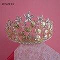 Acessórios Para o Cabelo de ouro Para As Mulheres Shinny Pedrinhas Folha Adornos Para El Pelo Casamento De Cristal Crown Tiaras Parágrafos SQ081