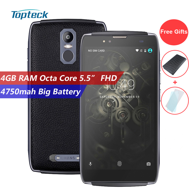 "UHANS U300 4G 4750mAh 5.5"" FHD 1920*1080 Fingerprint Smartphone Android 6.0 MTK6750T 64-bit Octa Core 4GB+32GB 13MP Mobile Phone"