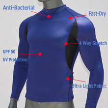 Azul UPF 50 de manga larga Surfing Rash Guard Swimwear Rashguard Dry-Fit buceo camiseta camisetas de natación protección solar transpirable top(China)
