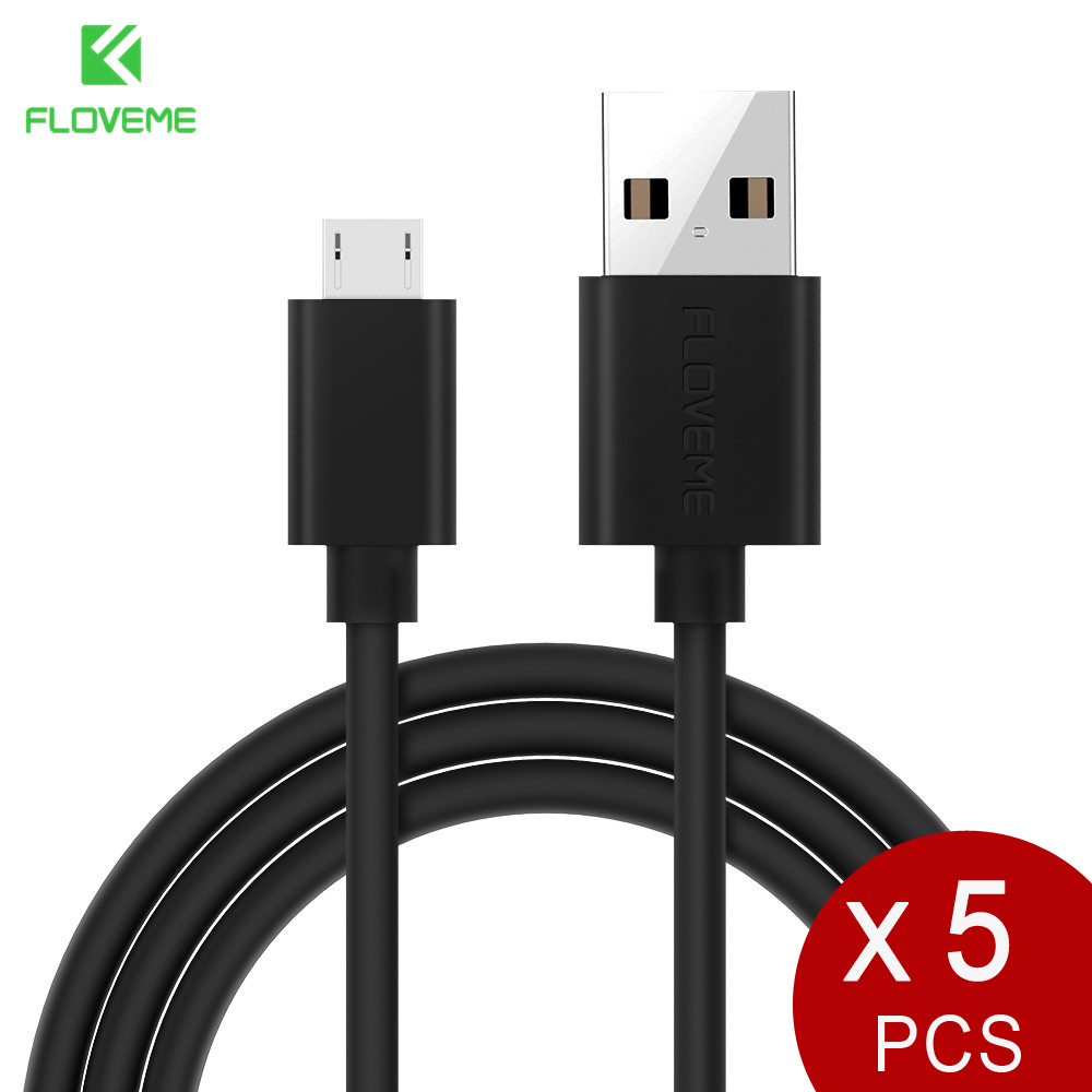 FLOVEME 5Pcs/Lot Micro USB Cable 2A Fast Charging 1m 2m Mobile Phone Charger Cable For Samsung Xiaomi LG Android Microusb Cabo
