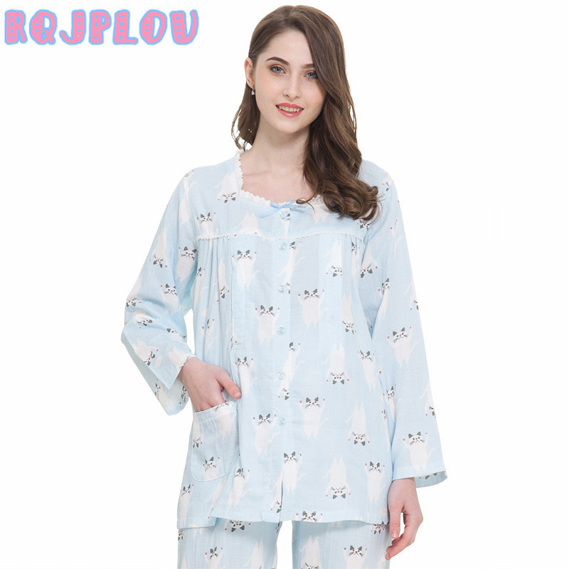 2018 2pcs/ Set Maternity Clothes Spring Summer Maternity Sleepwear Breastfeeding Sleepwear Nursing Pajamas for Pregnant Women