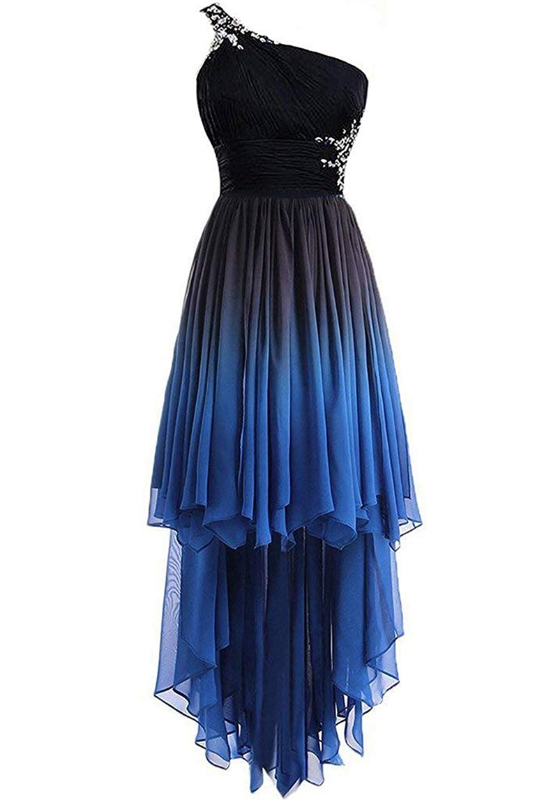 Bealegantom 2019 One Shoulder Hi-Lo Gradient Chiffon Short Prom Dresses Ombre Beads Crystal Evening Homecoming Party Gown QA1565