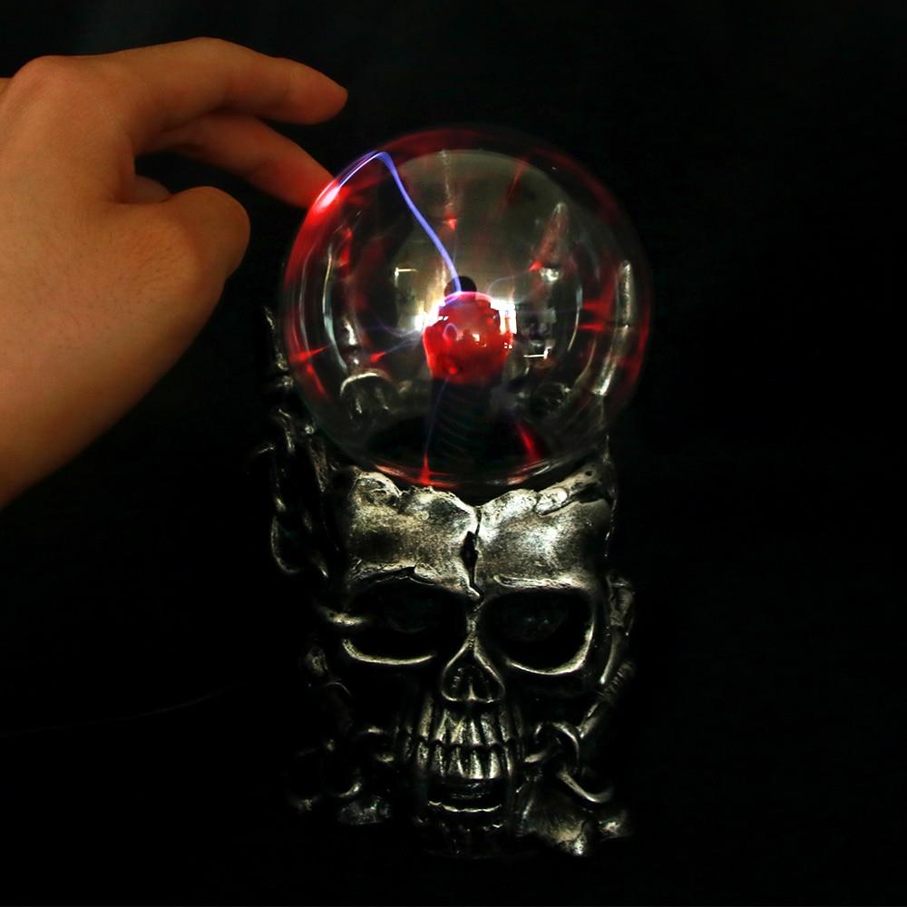 Creative Halloween Decoration 10cm Skeleton Form Plasma Ball Nebula Ball Sphere Lighting Glow Light Table Decoration