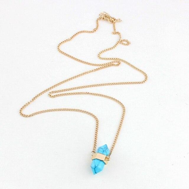 Женские ожерелья с синим камнем chicvie подвеской золотого цвета