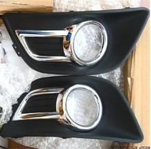 Пара Хром переднего бампера Туман свет лампы Крышка для Citroen C4 2008-2011 C-Quatre спереди туман лампа Рамки